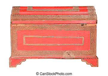 Vintage red chest isolated on white