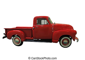 Classic Pickup - Vintage Red Classic Pickup isolated on...