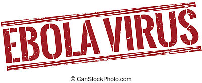 vintage red ebola virus stamp on white background