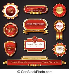 Vintage red gold frame vector banners