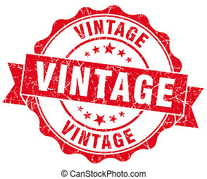 vintage red grunge seal isolated on white