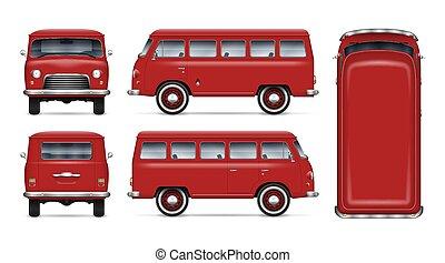 Vintage red minibus vector mockup