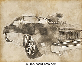 Vintage red muscle car drawing