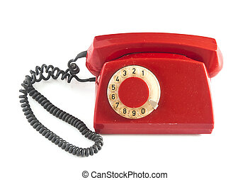 Vintage red phone isolated on a white background.