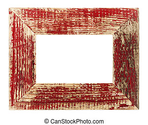 Vintage red picture frame, isolated on white background