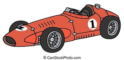 Vintage red racing car