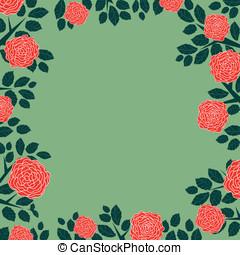 Vintage red rose frame with leaf