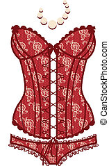 Vintage  red sexy guipure corset