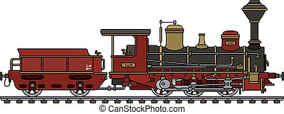 Vintage red steam locomotive - Hand drawing of a vintage...