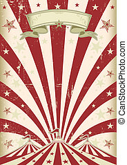 Vintage red sun circus