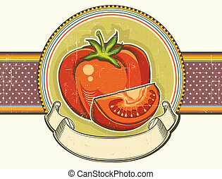 Vintage red tomatos label on old paper background texture. Vector