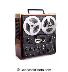 vintage reel-to-reel recorder isolated on white