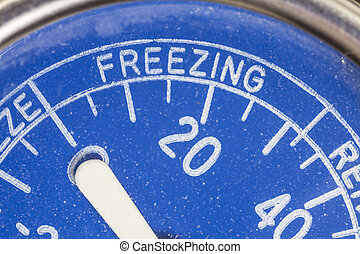 Vintage Refrigerator Thermometer Freezing Zone Detail -...