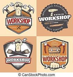 Vintage Repair Workshop Emblem Set