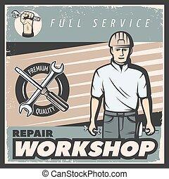 Vintage Repair Workshop Poster