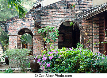 Vintage resort with ancien bricks in Vietnam