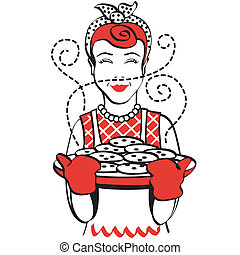 Vintage or retro 1950s woman holding tray of cookies clip art