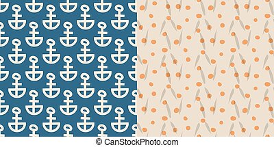 Vintage retro anchor badge vector seamless pattern...