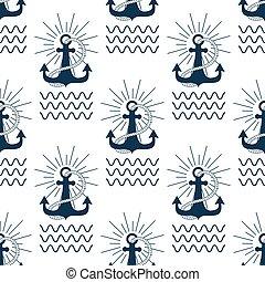 Vintage retro anchor badge vector seamless pattern sea ocean...