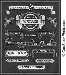 Vintage retro banner scroll set