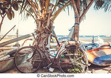 Vintage Retro Bicycle on the beach.