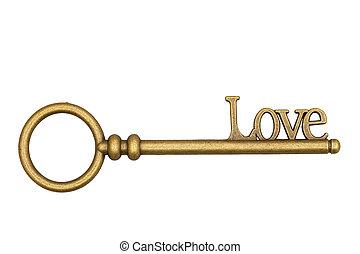 Vintage retro bronze love skeleton key