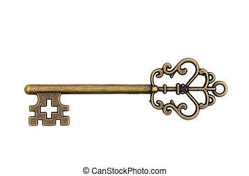 Vintage retro bronze skeleton key