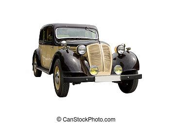 Vintage retro car isolated on white background