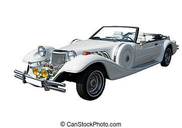 Vintage retro car - Vintage blue car cabriolet isolated on...