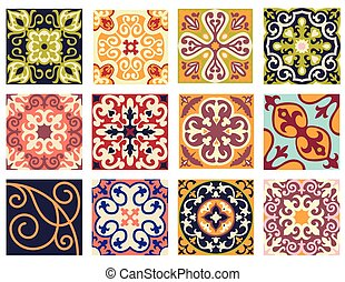 Vintage retro ceramic tile pattern set.