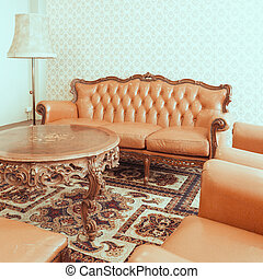Vintage retro chair in room