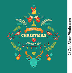 Christmas design with birds, elements, ribbons and deer