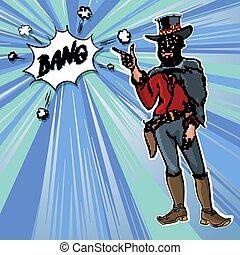 Vintage Retro Clip Art men cowboy Bang vector