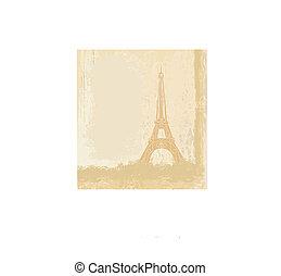 vintage retro Eiffel card