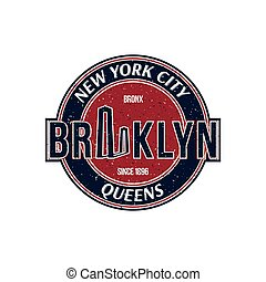 Vintage retro emblem with texture in old style. The city of...