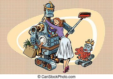 Vintage retro family, dad robot, wife and child. Vintage pop art retro comic book vector illustration. A woman meets her husband from work