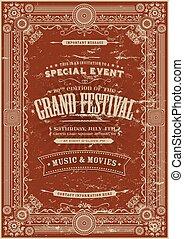 Vintage Retro Festival Poster Backg