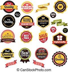 Vintage, retro flat badges, labels