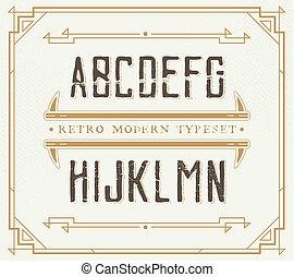 Vintage Retro Font. Handcrafted Decoration Font.