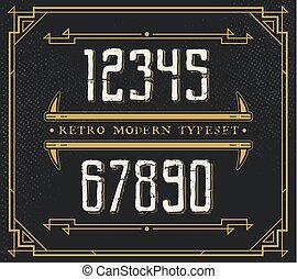 Vintage Retro Font. Handcrafted Decoration Font. Number from 0 to 9