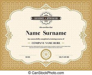 Vintage retro frame certificate background template -...