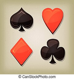 Vintage Retro Gambling Cards Icons - Illustration of spades,...