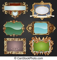 Vintage retro gold frames and labels - Vintage retro glossy...