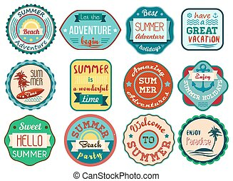 Vintage retro grunge summer vacation travel labels and badges stickers icons set.
