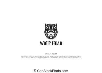 Vintage Retro Hand Drawn Wolf Dog Head for Tattoo Logo Design Vector