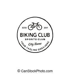 Vintage retro hipster Bicycle store vector round emblem, badge or logo design