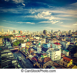 Bangkok - Vintage retro hipster style travel image of ...