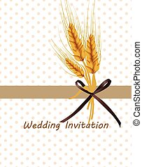 Vintage retro invitation with wheat ears