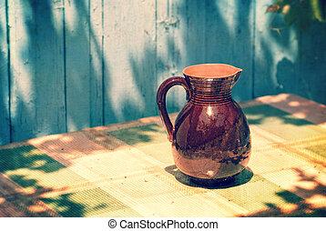 Vintage Retro jug on a table