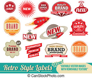 Vintage retro labels and tags. Editable vector images with removable texture